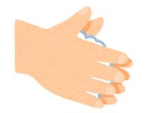 流水でよく手をぬらした後、石鹸をつけ、手のひらをよくこすります。